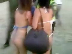 Jealous chicks fighting with their boobs out
