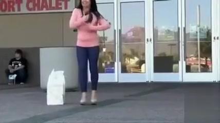 Busty babe gets off on public flashing