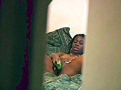 Ebony hidden cam masturbation