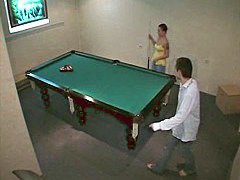 Free voyeur action from amateur couple on the billiard table
