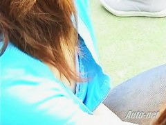 Japanese babe giving a nice downblouse view