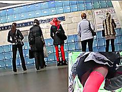 Red nylons upskirt movie scene