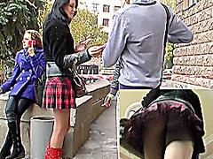 Horny schoolgirl upskirting gazoo
