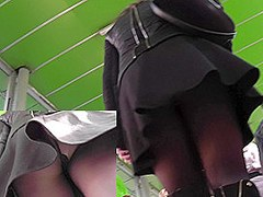 Leather mini skirt and hessian boots in upskirt movie