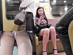 Making spy upskirt movie scenes in subway