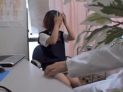 Doc making checkup of Japanese schoolgirls on hidden cam