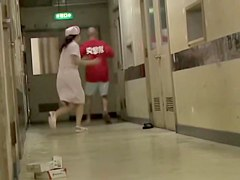 Japanese nurse bends over and gets her sexy bottom sharked