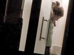Half naked cutie spied by kinky dude through window