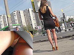 Sexy girl caught on upskirt cam on the way to her boy