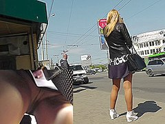 Upskirt amature video with sexy blonde in pantyhose