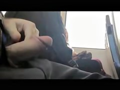 Sweet girls pretend not to see man wank cock in the bus