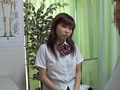 Kinky doc doing medical examination of Asian schoolgirls