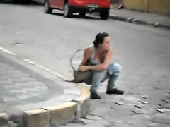 Kinky Maria caught in the kinky outdoor public pissing