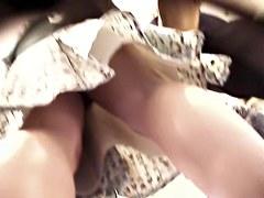 Cute teenie upskirt above the voyeur hiddencam