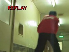 Hot sharking video with Japanese nurse and her white panty