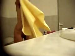 Shower spy cam fem zealously towels her naked body