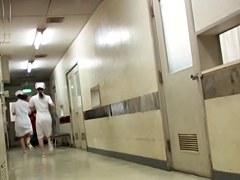 Merciless panty sharking for the pretty Japanese nurse