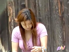 Busty Asian hottie got top sharked while sitting on a bench