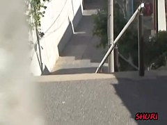 Sharking video shows a cute Japanese chick with small tits