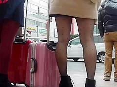 Pantyhose upskirt candid