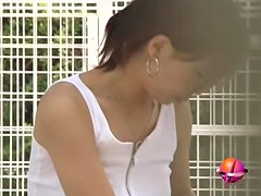 Water gun action with enticing Asian sweetie getting totally exposed
