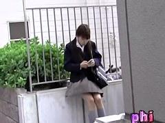 Pig-tailed brunette gets her schoolgirl uniform snatched by some lad
