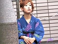 Stunning geisha getting her boobies fully revealed by some handy fella