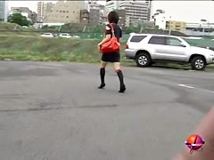 Hot oriental sweetie without panties getting pulled into sharking adventure