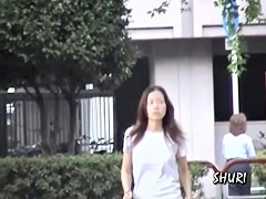 Curious long-haired Asian babe getting tricked during quick sharking action