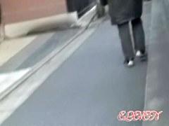 Vivacious little brunette making loud noises during street sharking