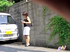 Joyful friendly bimbo is messing with her phone during instant sharking affair