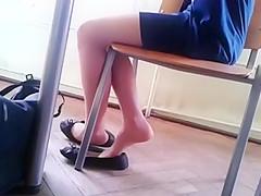 Candid Stunning Teen Shoeplay Feet in Nylons pt 2
