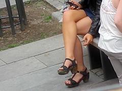 blonde candid crossed legs
