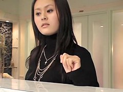 Exquisite Japanese bimbo in sexy voyeur massage action