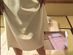 Vibrating toy for a hot Japanese in voyeur massage video