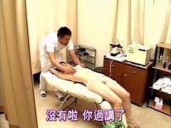 Skinny Japanese riding a pecker in voyeur massage video