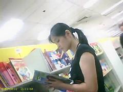 boso voyeur teen upskirt girl on a bookstore