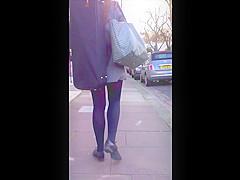 Candid tiny skirt redhead wardrobe malfunction