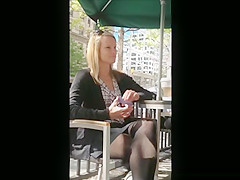 Hidden camera, Sexy blonde black pantyhose, nice feet.