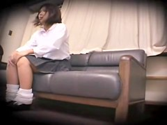 Skinny teen rides a pecker in spy cam Japanese sex video