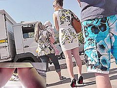 Enticing outdoor upskirt footage