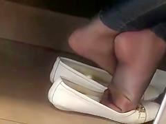 Candid Nylon Feet , flats shoeplay