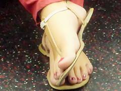 Candid Feet on Train