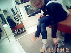 sexy girl in a shoe store