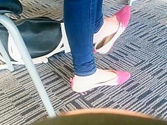 Candid Asian Teen Shoeplay Feet Dangling Pink Flats Part 1