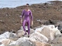 Slender amateur doll is wrapped in lilac latex costume 08e
