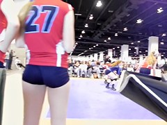 Sexy vixens wearing sporty uniform and shaking candid butts