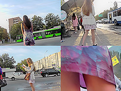 Skinny gal is in a-line skirt in accidental upskirt vid