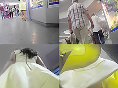 G-string upskirt footage of a chick wearing mini skirt