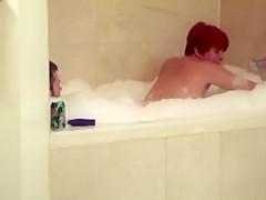 Short hair redhead mature woman riding man